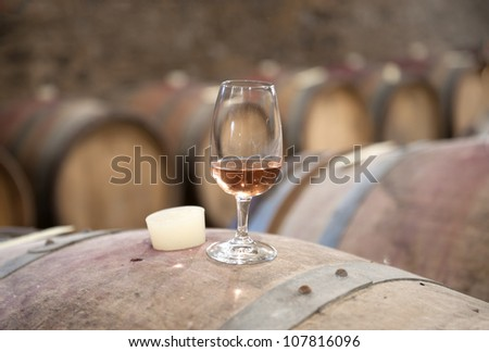 tasting wine in an old wine cellar