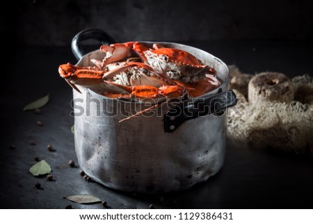 Tasty and fresh crab with allspice and bay leaf #1129386431