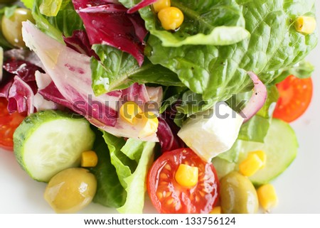 tasty and fresh european salad with different vegetables