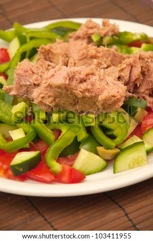 Tasty and healthy tuna salad on a white plate