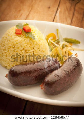 tasty and hot blood sausage with rice