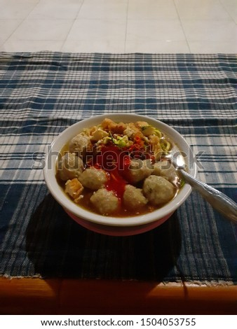 Tasty and tasty meatball noodles  #1504053755