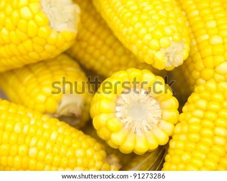 Tasty and warm freshly boiled corn