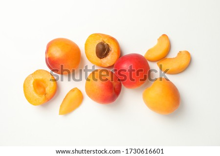 Tasty apricots on white background, top view Сток-фото ©