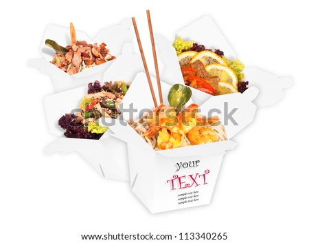 tasty background of  healthy Chinese food with chopsticks isolated over white (with sample text)