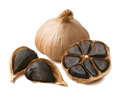 Tasty black garlic isolated on white background. Package design element with clipping path