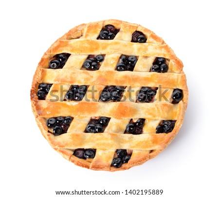 Tasty blueberry pie on white background #1402195889