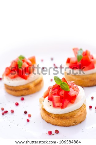 Tasty bruschetta with bread tomatoes basil and cheese and white space