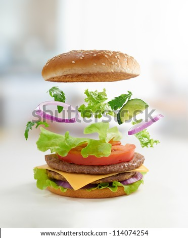 Tasty burger close up