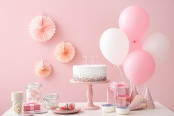 Tasty candy bar for Birthday party on table against color background