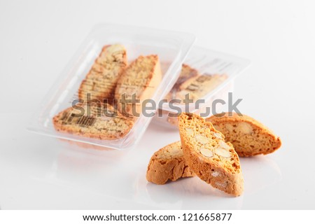 tasty cantucci on white background with pack of it