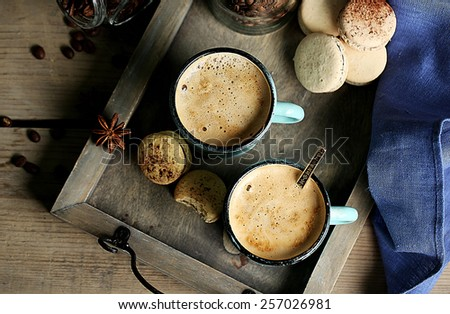 Tasty cappuccino on table