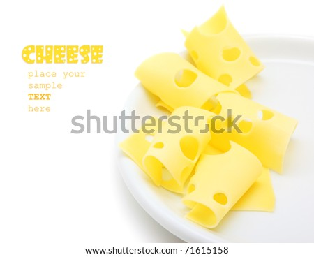 Tasty cheese slices on the plate, studio isolated food with text space