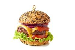 Tasty cheeseburger on white