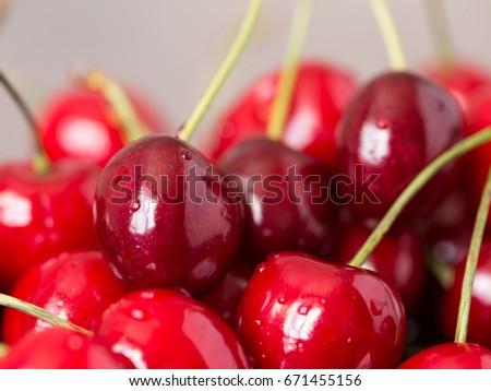 Tasty cherry fruit, sun energy in juicy berries #671455156