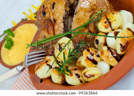 Tasty chicken with roasted potatoes