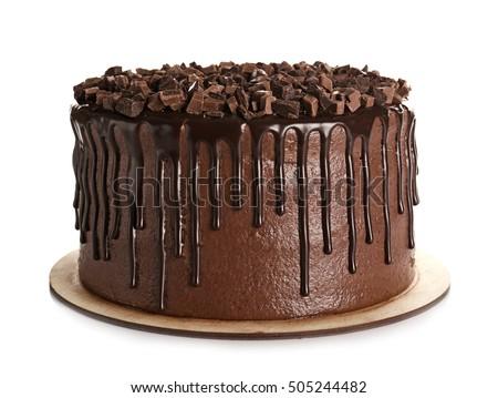 Tasty chocolate cake isolated on white Foto stock ©