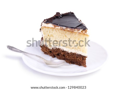 Tasty chocolate cake on a white plate over white background