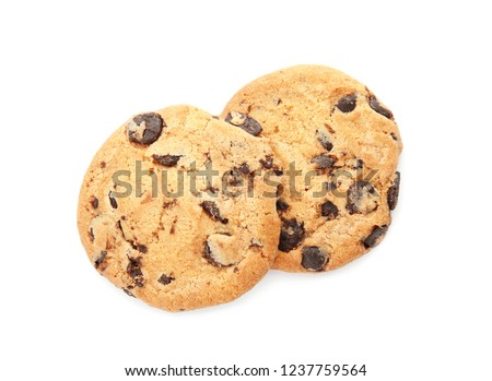 Tasty chocolate chip cookies on white background, top view