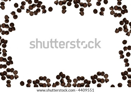 tasty chocolate chips on a white background