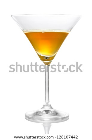 Tasty color liquor, isolated on white - stock photo