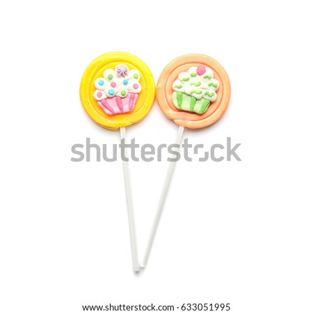 Tasty colorful lollipops on white background #633051995