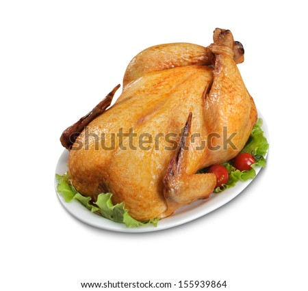 Tasty cooked chicken isolated on white