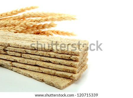 tasty crispbread and ears, isolated on white