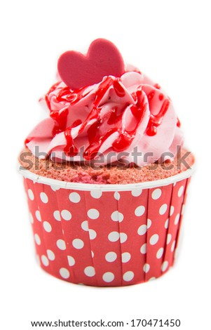 Tasty cupcake with butter cream on white background