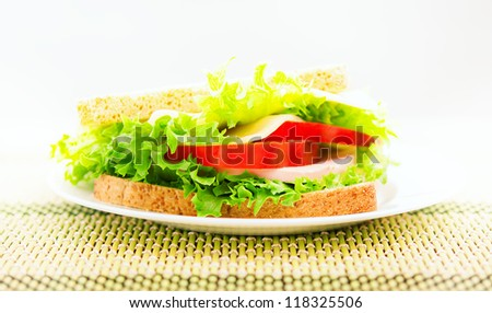 tasty delicious sandwich on a plate - stock photo