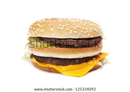 Tasty double hamburger sandwich isolated in a white background