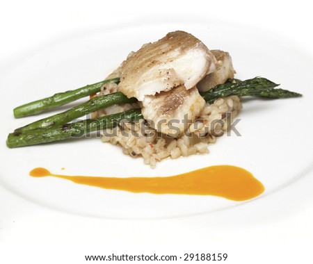 tasty fish with rice and asparagus