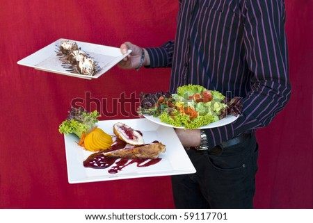 Tasty food from restaurant is ready to eat