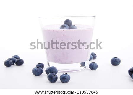 tasty fresh blueberry yoghurt shake dessert isolated on white background