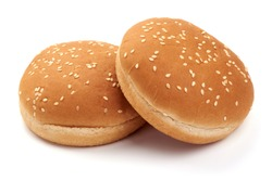 Tasty fresh burger buns with sesame seeds, Hamburger bun, isolated on white background.