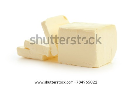 Tasty fresh butter on white background