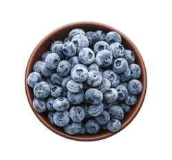 Tasty frozen blueberries in bowl isolated on white, top view