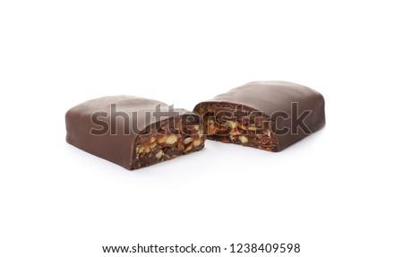 Tasty glazed protein bar on white background