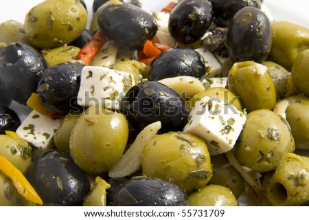 Tasty greec salad with olives and feta cheese