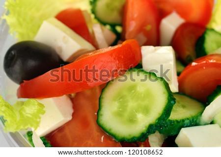 tasty greek salad close-up