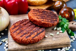 Tasty grilled burger made with vegetarian plant based imitation minced soya beans meat