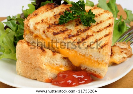 Tasty grilled cheese sandwich served with salad greens.