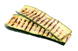 Tasty grilled zucchini on white background