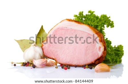 tasty ham isolated on white