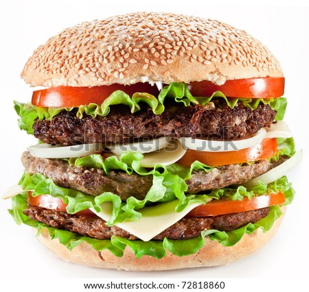 Tasty hamburger on white background.