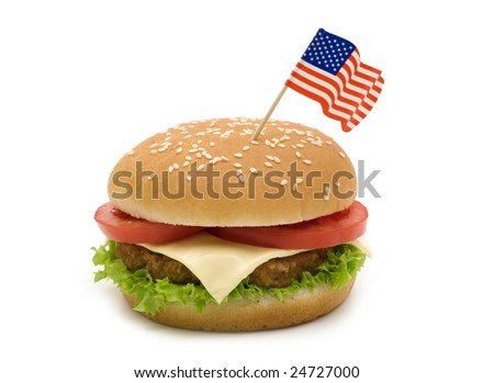 Tasty hamburger with flag on white background
