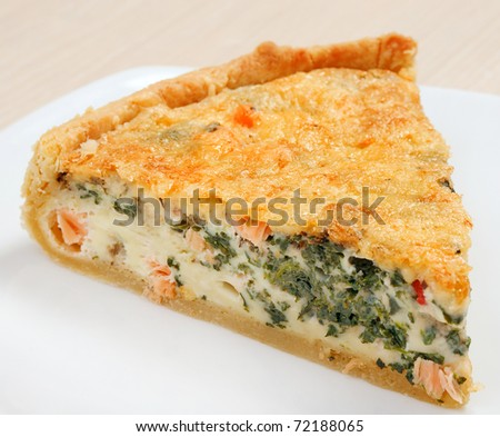 tasty home pie with verdure and salmon