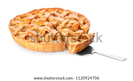 Tasty homemade apple pie and spatula on white background