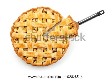 Tasty homemade apple pie on white background #1102828514