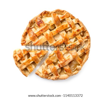 Tasty homemade apple pie on white background #1140113372
